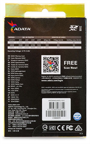 AData Premier One 64GB SDXC Memory Card Package back
