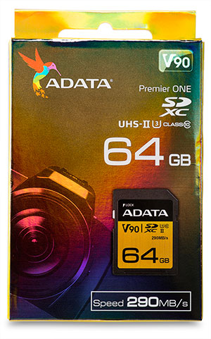 AData Premier One 64GB SDXC Memory Card Package front