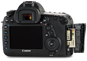 Canon 5D Mark IV with SD / CF memory cards and door open