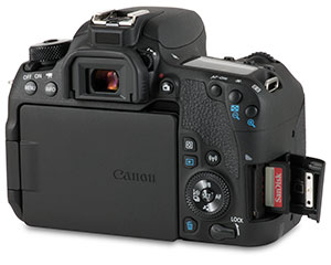Canon 77D with SD card slot with SanDisk Extreme Pro card and door open