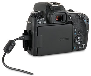 Canon 77D USB 2.0 cable transfer using camera USB port