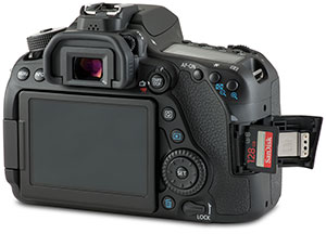 Canon 80D with SD card door open