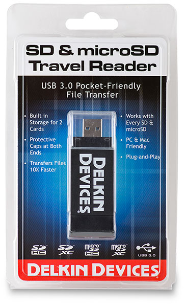 Delkin Devices Travel Reader USB 3.0 SD and microSD Card Reader Package - front