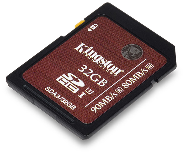 Kingston UHS-I Speed Class 3 U3 90/80 MB/s 32GB SDHC Memory Card Front