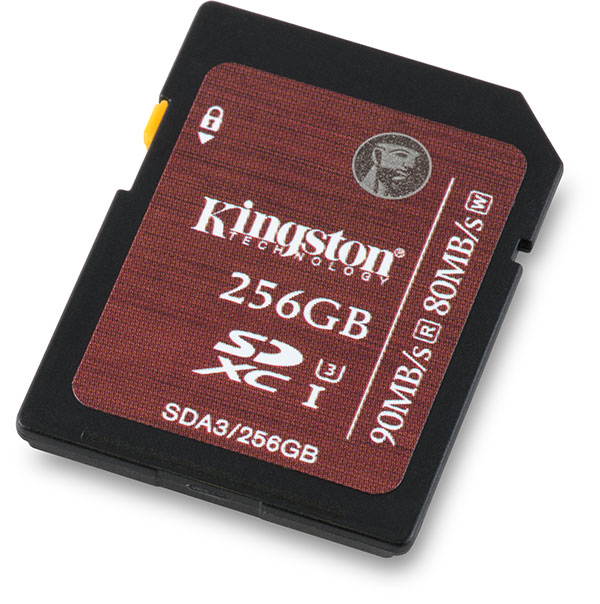 Kingston UHS-I Speed Class 3 U3 90/80 MB/s 256GB SDXC Memory Card Front