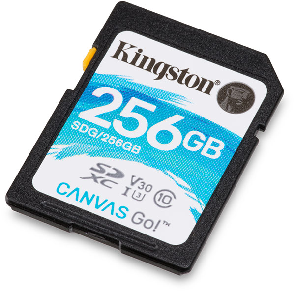 Kingston Canvas Go! UHS-I U3 V30 256GB SDXC Memory Card Front