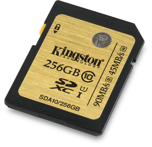 Kingston Class 10 UHS-I 256GB SDXC Memory Card Front
