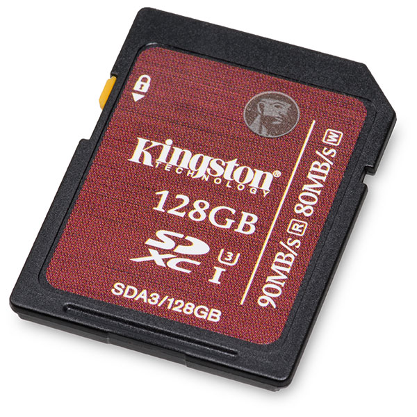 Kingston UHS-I Speed Class 3 U3 90/80 MB/s 128GB SDXC Memory Card Front