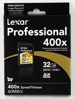 Lexar Professional 600x 32GB SDHC Memory Card Package Front