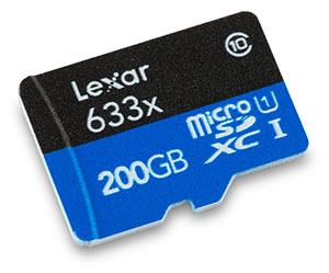 Lexar Professional 633x 200GB UHS-I microSDXC Memory Card Front