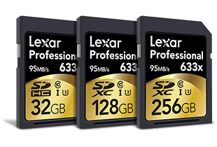 Lexar Professional 633x SD card lineup 32GB 128GB 256GB SD cards