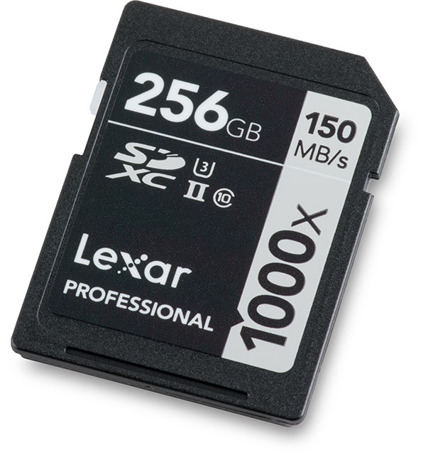 Lexar Professional 1000x UHS-II 256GB SDXC Memory Card Front