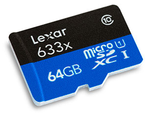 Lexar Professional 633x 64GB UHS-I microSDXC Memory Card Front