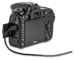 Nikon D7500 with USB cable in USB port for transferring images from camera with door open