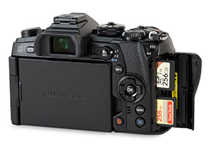 Olympus E-M1 II SD card slots with memory cards and door open
