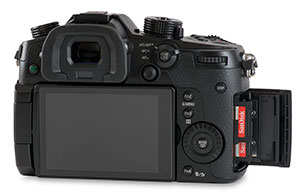 Panasonic GH4 with dual SD card slots with SanDisk Extreme Pro 300MB/s UHS-II UHS-II memory cards and door open