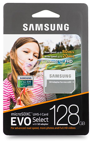 Samsung EVO Select microSDXC 128GB package