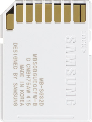 Samsung PRO 32GB SDHC Card Back