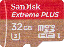 SanDisk Extreme Plus 80MB/s U3 MicroSDHC Card Front