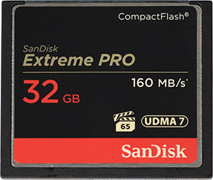 SanDisk Extreme Pro 160MB/s 32GB CompactFlash Card Front