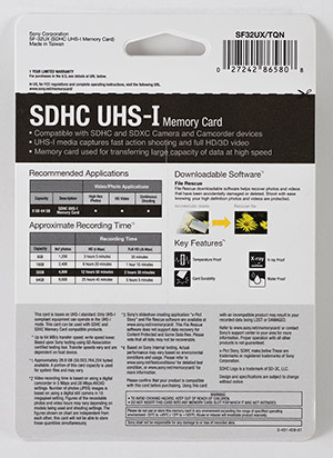 Sony 32GB SDHC Memory Card Package Back