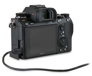 Sony A9 with USB 2.0 Cable in camera USB Port for transferring images