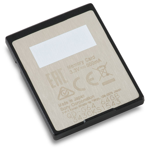 Sony G-Series XQD 64GB Memory Card Back