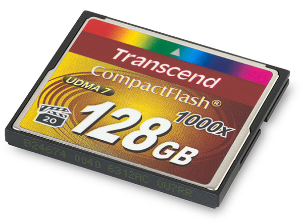 Transcend 1000x 128GB CompactFlash Memory Card Front