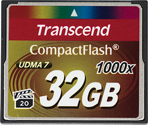 Transcend 1000x 32GB CompactFlash Memory Card Front