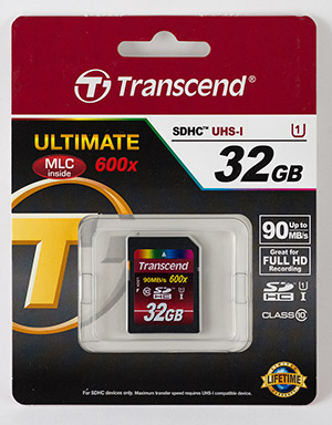 Transcend Ultimate 600X 32GB Memory Card Package Front